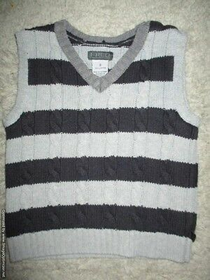 Boys Black & Grey Stripe Designer *** FRED BARE *** Thick Cotton Vest Size 2