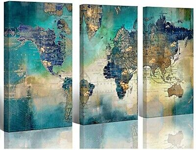 LARGE WORLD MAP Canvas Prints Wall Art Living Room Office 16x32 3 Piece