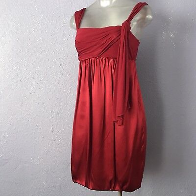 2ffc7244961 BCBG MAX AZRIA  198 Mixed Media Dress Satin Jersey Knit Rouge 2 BEAUTIFUL