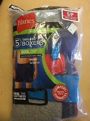 Hanes Tag less Boxer Briefs 5 Pack Mens Assorted Colors & Bands S/P 28-30