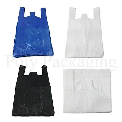 VEST CARRIER BAGS *Any Size/Colour* BLACK/WHITE/BLUE Plastic Retail Shopping Bag