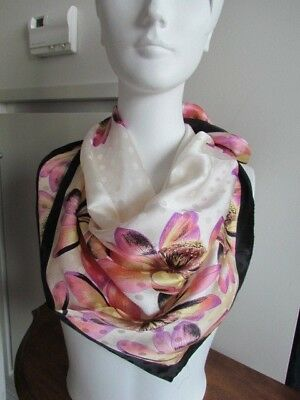 Anne Klein Scarves Lot Floral Abstract large Silk Chiffon Satin New Blue Pink