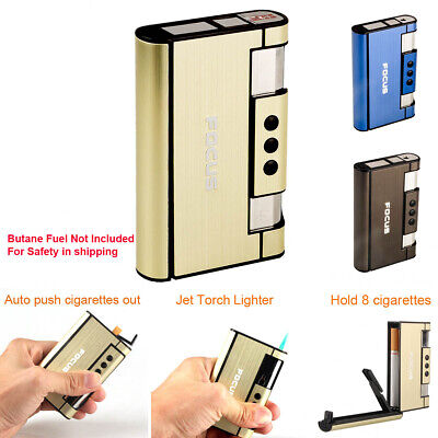 Outdoor Windproof Torch Jet Lighter Cigarette Case Holder Pocket Tobacco Box