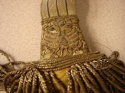"Original Pre-WW1 AUSTRIAN Army Officers Gold Fringed ""FJI"" Striped Sword Knot"