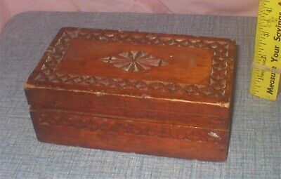 Charming Vintage Wooden Box W Fancy Indented Decorations Tramp Art