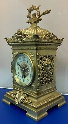 Superb Antique 19th c French Gilt Pierced Bronze Cubed Mantel Clock by Vincenti