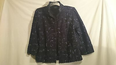 Liz Jordan Ladies Jacket in Black with a Blue Geometric Pattern Size M