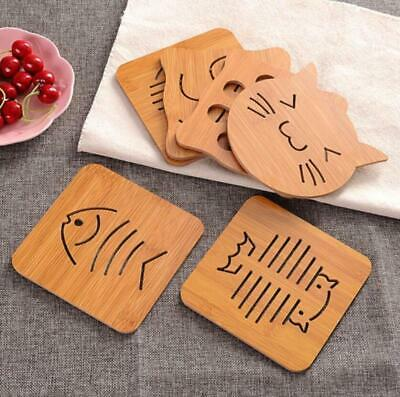 Wood Drink Coaster Tableware Hollow Out Pads Hot Tea Coffee Cup Pad Table Deco