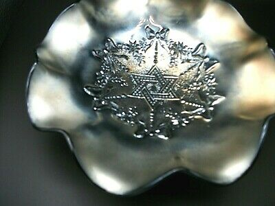 """Antique EAPG Northwood Star of David and Bows Black GoldCarnival Glass 7.5"""" Bowl"""