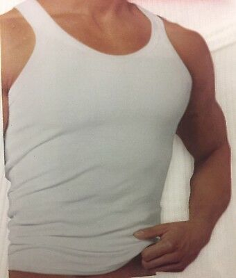 af7bb496be4f2 New 3 Pack Men s Plain White Ribbed Tank Top A-Shirt Undershirt 100%Cotton