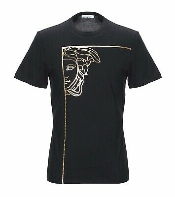 24738780f VERSACE COLLECTION MEN'S Black T-shirt w Gold Foil Medusa XL ...