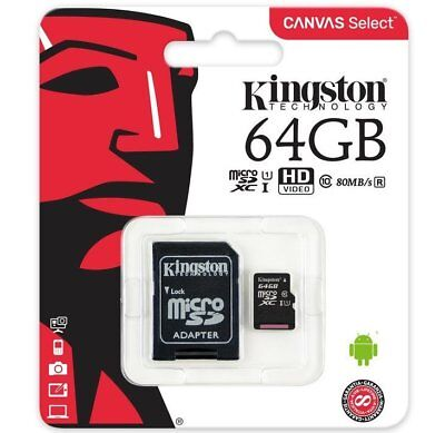 KINGSTON 64GB Micro SD SDXC 80MB/s Card For GoPro Hero (2018) Action Camera
