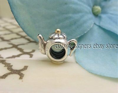 NEW Authentic Pandora Silver 14k Gold TEAPOT Charm 790393 RETIRED