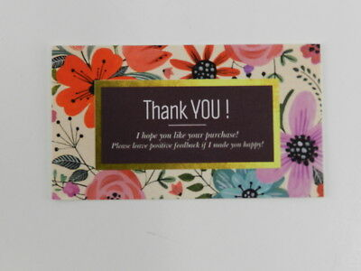 100 Professional Thank You Cards Ebay Poshmark Etsy Seller Feedback Floral