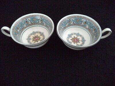 Wedgwood china 2 Peony cups no saucers Florentine Turquoise dragons birds Englan