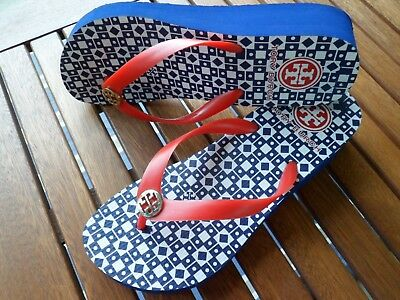 4426cb264a3 TORY BURCH THANDIE Wedge Flip Flop Sandal Size 8 Tropical Print ...