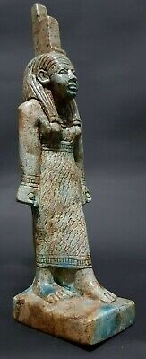 RARE ANTIQUES ANCIENT EGYPTIAN ISIS Statue Blue Glazed Egypt Stone 1200-1085 BC