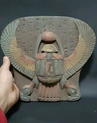 RARE ANCIENT EGYPTIAN ANTIQUES Scarab Beetle Stela Relif Egypt Stone 1959 BC