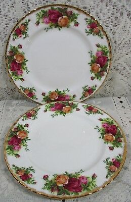 """2X Royal Albert Old Country Roses Set 2 Salad Luncheon Plates 8"""" Made England P2"""