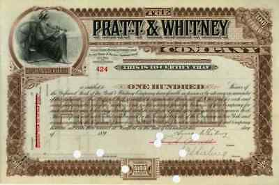 189_ Pratt & Whitney Co Stock Certificate signed by both Pratt & Whitney