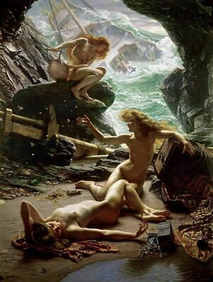 Mermaid Oil Painting home decor wall art Printed on canvas for living room L1012