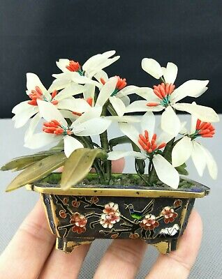 impressive 19th/20th antique  Old Chinese Cloisonne jade plant