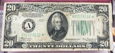 1934 $20.00 Federal Reserve **star Note Very Good Raw Bin Free Shipping