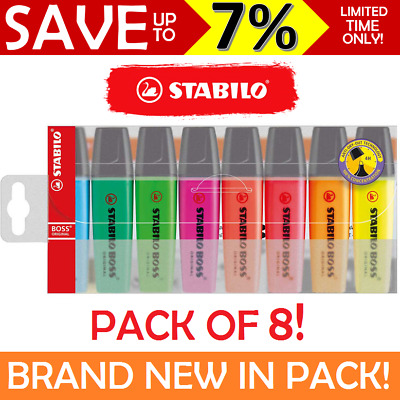 NEW IN PACK 8x Stabilo BOSS Highlighter Wallet Sleeve Assorted 8 Colours Bright