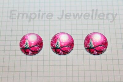 2 x Cat in the Moonlight 12x12mm Glass Cabochons Cameo Dome Kitty Kitten