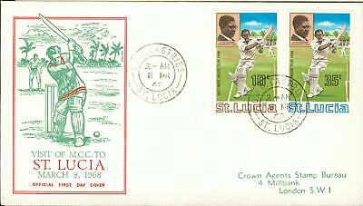 St.Lucia Michel Nr. 221-222 on FDC cricket club Kricket 1968 io96