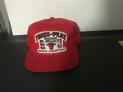 7198535e3c8a7 Vintage 1991-92-93 Three-Peat Chicago Bulls World Champions Snapback Cap Hat