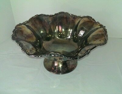Newport Gorham Silver Plate Large Footed  Fruit Bowl with original label