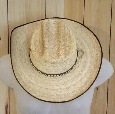 e0a0c7c591316d LONE STAR Straw Leather Band Cattleman Western Cowboy Hat Sz 7 3/8 ...