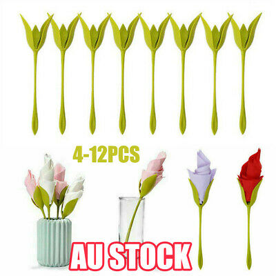12Pcs Bloom Napkin Holders - Flowers Floral Green Design for Table Decoration AD