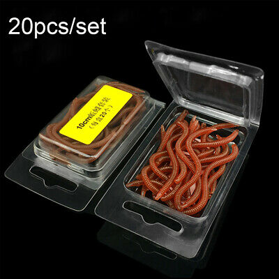 20Pcs Soft Tackle Bass Bream Fishing Lure bloodworm Worm Red Baits  EarthWorm