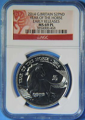 2015 Great Britain Year of the Horse 2 Pounds 1oz Silver Coin NGC MS69 PL ER