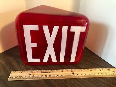 Vintage Retro Red EXIT Sign Light Theater Art Deco Glass Fits Standard Fixture