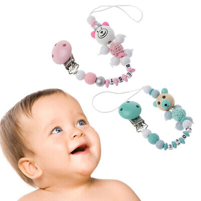 Baby Pacifier Clip Chain Cartoon Bear Letters Toys Teether Pacifier Chain Holder