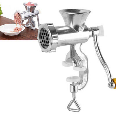 Hand Operated Manual Meat Grinder Sausage Beef Mincer Table Kitchen Silver US