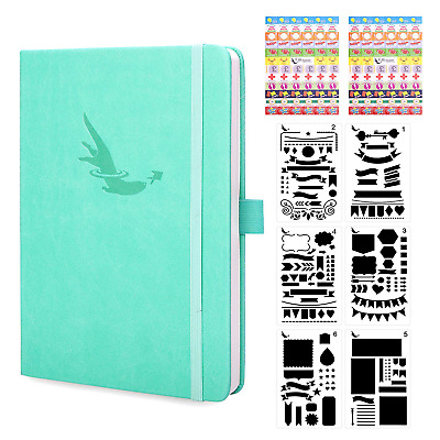 Bullet Journal Dotted Notebook A5 + Bonus Stencils and Planner Stickers - Deluxe