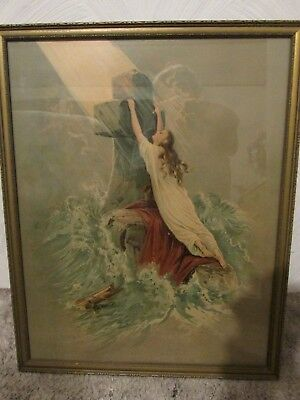 """Antique, Rare, Picture """" Clinging To The Cross"""" On A Very Stormy Sea"""