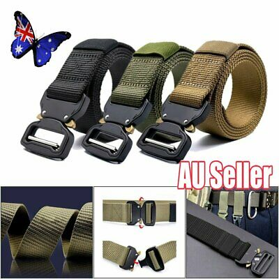 Military Style Tactical Canvas Belt Nylon Men Army Metal Buckle Cinturon NW