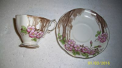 Royal Albert Blossom Time Lavender Trim Footed Tea Cup & Saucer England