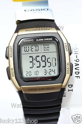 W-96H-9A Black Genuine Casio Watch Men's Digital Alarm Chronograph 50M Resin