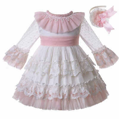 Kids Girls Spanish Lace Dress Layered Long Sleeve Ceremony Wedding Party Pageant