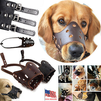 Adjustable Pet Dog Muzzle Mouth Mesh Cover Leather Muzzle for Small Large