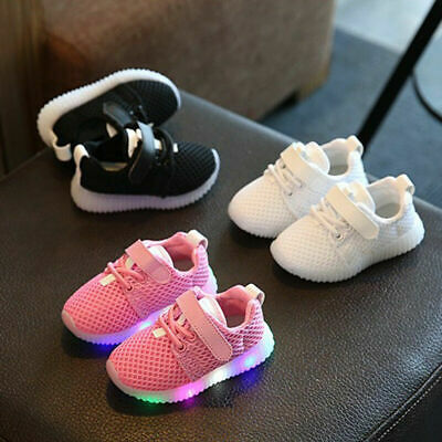 Kids Boys Girls Flash LED Light Up Shoes Sneakers Baby Toddler Luminous Trainers