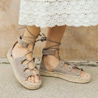 a0b922c97a2 Soludos Ghillie Platform Gladiator Sandal Sz 10 Espadrille Taupe Suede Lace  Up