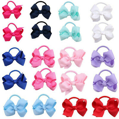 Girls Baby Kids Bow Hair Bowknot Clips Elastic Bobbles School Quality Hairband