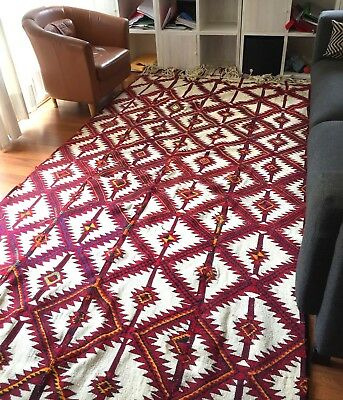 Wool tribal hand-woven Bedouin kilim from Egypt oriental Persian carpet rug
